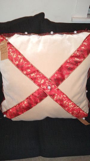 Suede with gold and red Christmas ribbon and pearl beads for Sale in Richmond, VA