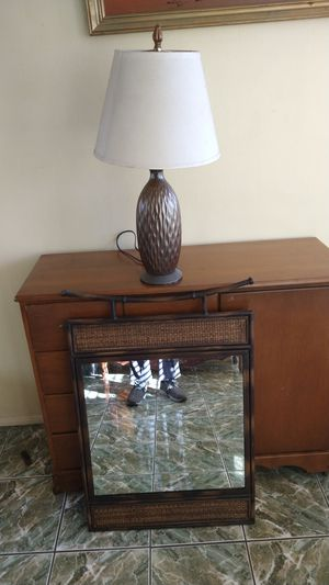 Wall metal mirror and lamp for Sale in Santa Ana, CA