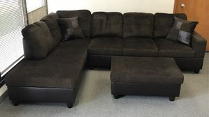 Dark brown sectional couch and storage ottoman for Sale in Renton, WA