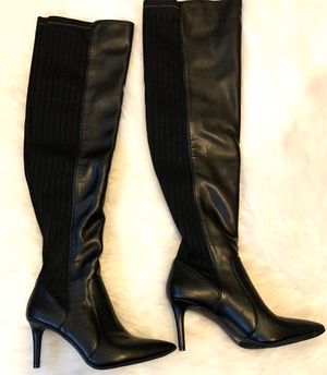 BLACK LEATHER THIGH HIGH BOOTS for Sale in Arlington, TX