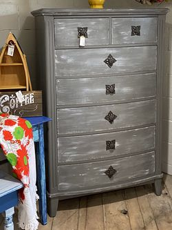 7 Drawer Tall Dresser Painted In Grey With White Accents for Sale in Bonney Lake,  WA