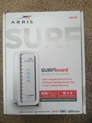 ARRIS Surfboard (16x4) DOCSIS 3.0 Cable Modem, Certified for Comcast Xfinity, Spectrum, Cox & More (SB6183 White) for Sale in Duluth, GA