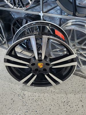 Porsche wheels fits Cayenne 22x9.5 black machine face 5x130 rim wheel tire shop for Sale in Tempe, AZ