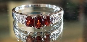 Stunning 10K white gold genuine red tourmaline ring size 7 for Sale in Lake Stevens, WA