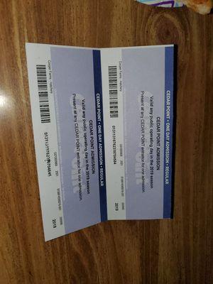 2 cedar point tickets for Sale in Van Wert, OH