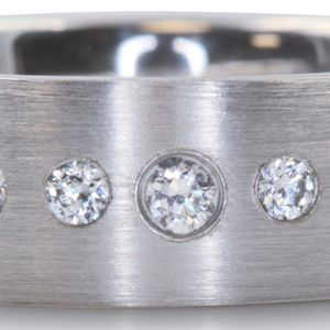 1068WG MENS 14K GOLD DIAMOND WEDDING RING BAND 7.00mm 5.00GRAMS for Sale in Costa Mesa, CA