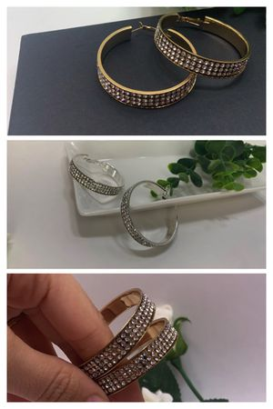 Large Round Circle Bling Hoop Rhinestone Earrings, Gold and Silver Color (2 Sets) for Sale in Irvine, CA