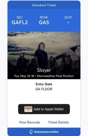 MAY 14 SLAYER / LAMB OF GOD TICKET for Sale in Centreville, VA