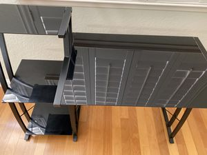 Black metal + glass desk with shelves - $110 for Sale in Redwood City, CA