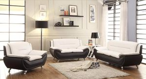 New Living room set 3pc Black & White for Sale in Puyallup, WA