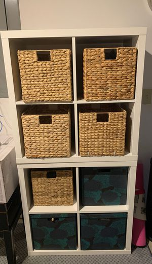 IKEA stackable shelves (2) with (3) storage bins w/ lids and (5) wicker bins for Sale in New Haven, CT