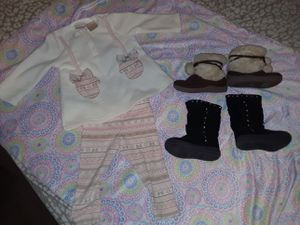 Cute outfit for 3-6 months baby girl and 2 pair of boots for Sale in Tomball, TX