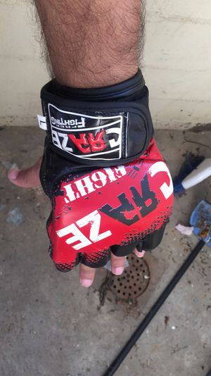 Used, MMA Leather UFC Grappling Gloves Fight Boxing Punch Bag Training Half Finger for Sale for sale  Brooklyn, NY