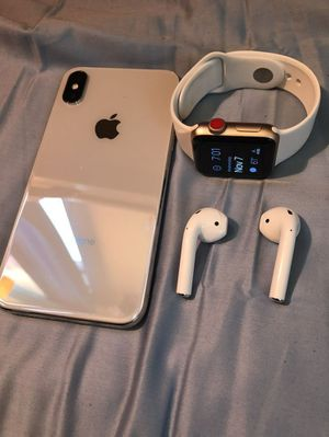iPhone X and Apple watch series 3LTE + alApple AirPod for Sale in Addison, TX