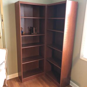 Cherry colored bookshelves for Sale in Durham, NC