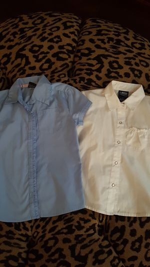 Girls Dress Shirts Blue And White Size 5 and 6 for Sale in Riverview, FL