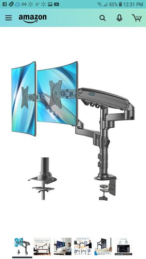 Dual Monitor Stand - Height Adjustable Gas Spring Double Arm Monitor Mount Desk Stand Fit Two 17 to 32 inch Screens for Sale in Peoria, AZ