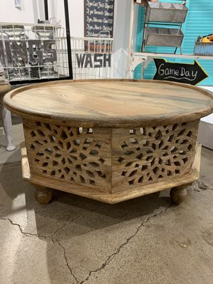 NEW- Hand Carved Mango Wood Coffee Table for Sale in Princeton, TX