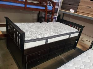 Twin Mission Style Captain Bed with Trundle and Drawers, Cappuccino for Sale in Santa Fe Springs, CA