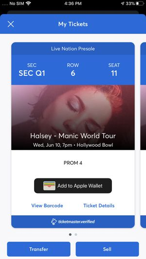 2 Halsey Tickets For Hollywood bowl for Sale in Livermore, CA