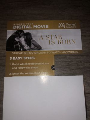 Star is Born Digital Code only no blu ray or DVD for Sale in Boyd, TX