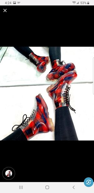 Plaid Lace Up Rain Boots for Sale in Hillcrest Heights, MD
