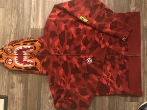 Bape tiger shark Camo full zip hoodie 100% authentic a bathing ape for Sale in Houston, TX