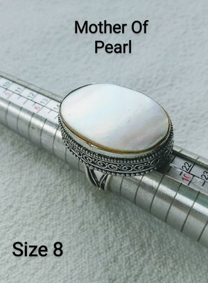 925 Silver MOTHER OF PEARL Vintage Style Gemstone Ring Size 8 $30.00 for Sale in Hollywood, FL