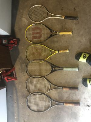 7 tennis rackets some pro different sizes for Sale in Lutz, FL