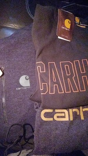 2 CARHARTT SHIRTS (ONE LONG SLEEVED THE OTHER IS SHORT SLEEVED) AND FORCE DELMONT HOODED SWEATSHIRT (ALL SIZE LARGE) for Sale in Auburn, WA