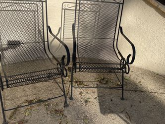 """Set of 2 black wrought iron outdoor chairs. Measurements: 38""""H x 22""""W x 22D I have other outdoor furniture and items for sale. for Sale in Agoura Hills,  CA"""