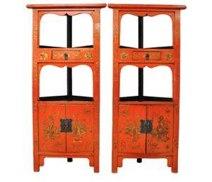 Antique Handmade Wooden Red Corner Cabinets for Sale in FL, US