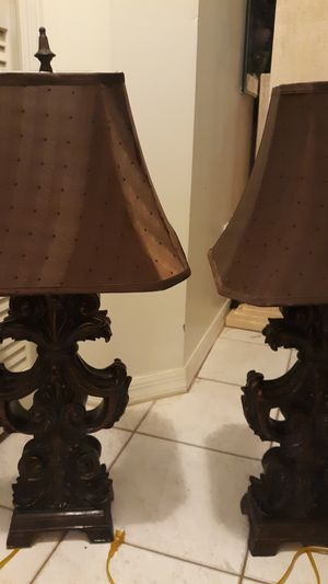 2 matching oriental brown lamps w brown shades for Sale in Port St. Lucie, FL