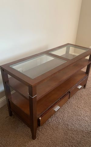 Coffee table brown 2 drawers glass on top ! for Sale in Sanger, CA