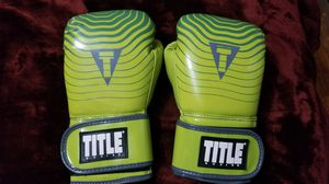 'TITLE' Boxing Gloves. Medium. 16 oz. Brand New. Lime Green & Gray. Velcro strap. for Sale in Norfolk, VA
