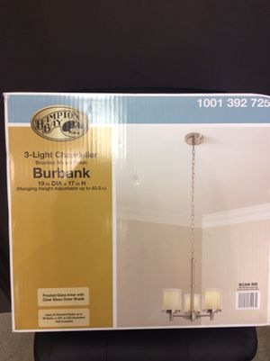 HAMPTON BAY BURBANK 3 LIGHT CHANDELIER BRUSHED NICKEL FINISH for Sale in Tacoma, WA