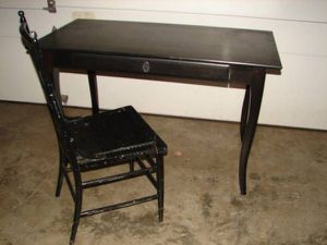 Nice Ikea Leksvik Pine Wooden Black Desk with Drawer and Older Chair for Sale in Mill Creek, WA
