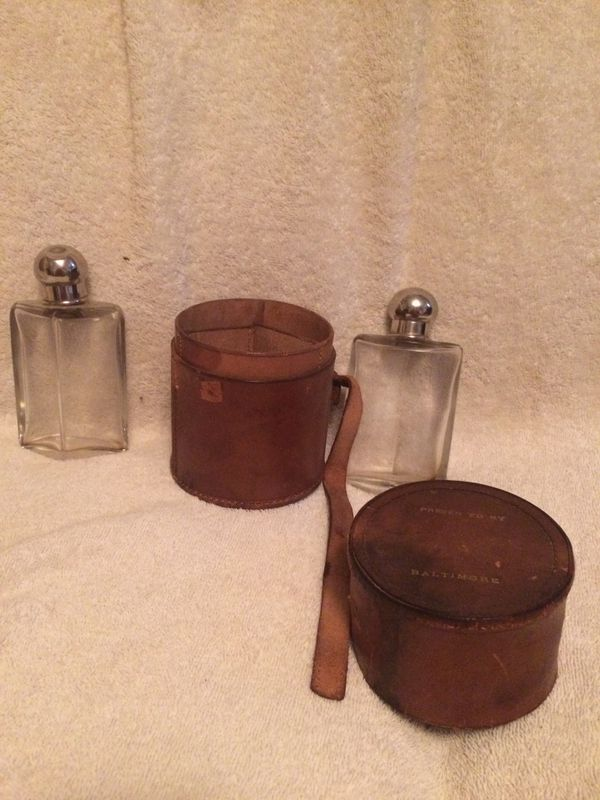 2 Vintage Flasks with Leather Carrying Case