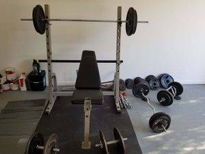 MUST GO ASAP! WEIGHT BENCH w/ over 600lbs of weights including DUMBBELLS for Sale in Tucker, GA