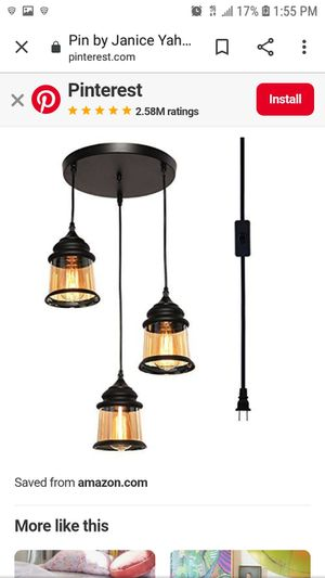 HMVPL 3-Lights Vintage Glass Jar Chandelier Pendant Light with 16.4 Ft Plug-in Cord and On/Off Toggle Switch, Industrial Hanging Lamp for Sale in Los Angeles, CA