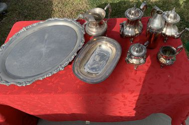 Silver plated serving trays and coffee set for Sale in Huntington Beach,  CA