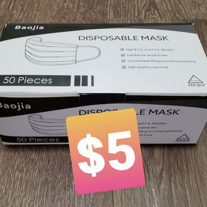 Disposable Face Masks - Black 50pcs for Sale in Lakewood, CA