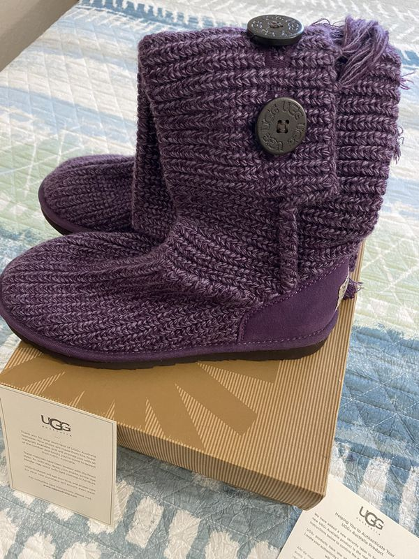 UGG Australia Cardy Fringe Purple Knit sweater five button Tall Boots Sz 7