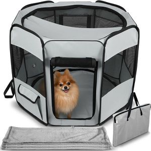 NEW Grey Dog Play Pen Tent with blanket portable travel for living dining bedroom for Sale in Toms River, NJ