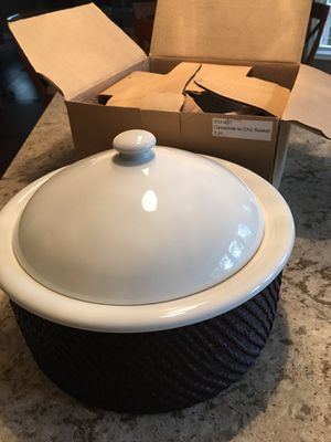 Crate&Barrel covered baker with basket. One used only a few times, one not used in original box. for Sale in Sterling, VA