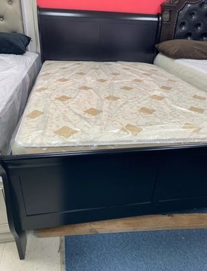 Brand New Full Size Black Wood Sleigh Bed Frame ONLY ( 3 Color Options) for Sale in Silver Spring, MD