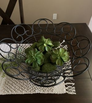 Large metal decor bowl with artificial succulents and moss rock filler for Sale in Visalia, CA