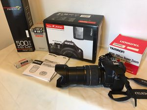 Pentax K2000 Camera in Working Condition, 3 Lenses Tamron AF28-200, 18-55 & 500mm Preset Lens, Electronic Flash, Remote Control. $450 OBO. for Sale in Boynton Beach, FL