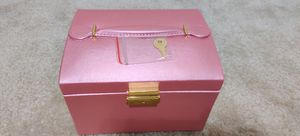 Pink Jewelry Box, Faux Leather Jewelry Organizer, Three Layers PU Leather, Holder for Earring Ring Necklace Bracelet Jewelry Box with Mirror and Lock for Sale in Daniels, MD