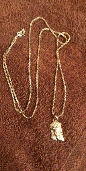 Jacoje 14k soild gold chain and Jesus pendent for Sale in Wichita, KS